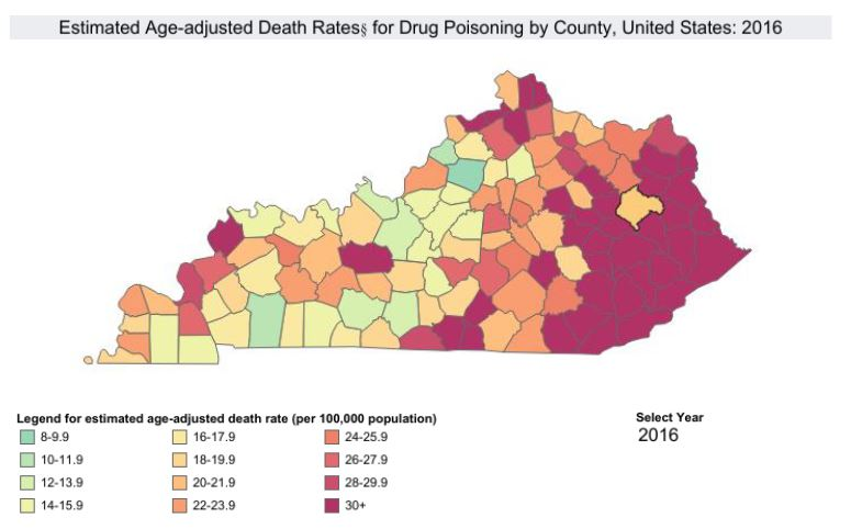 Map shows drug overdose deaths in each Kentucky county