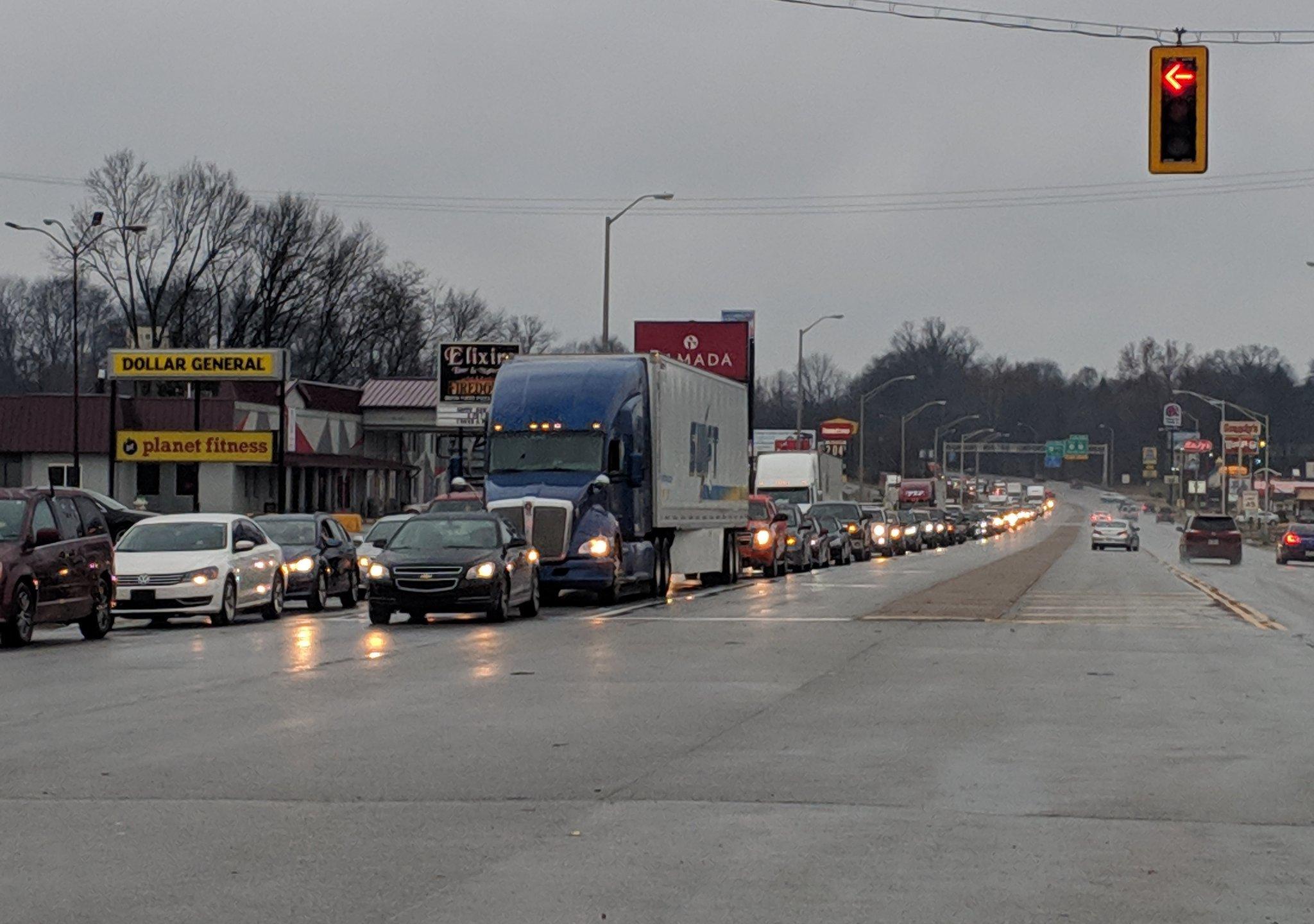 Huge traffic jam on Hwy  41 in Henderson