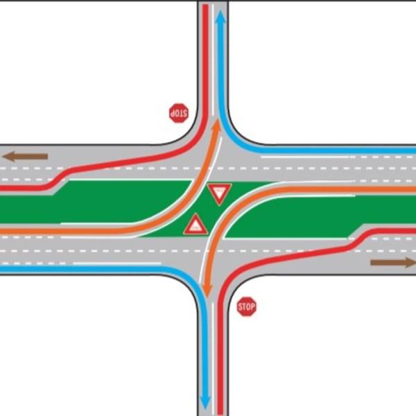 median u-turn, or J-turn